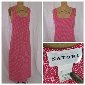 NATORI Asian Floral Long Tank Slip Nightgown Dress